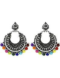JewelMaze Rhodium Plated Multi Beads Chandbali Afghani Earrings For Women