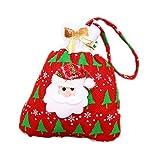 Demarkt 1 Pcs Sacs à Bonbons Mignon Impression Sac Cadeau Père Noël Sac à Main pour Enfants Cartable Biscuits Chocolat Noël Mariage Anniversaire Fête Sac Sachet 20 * 24cm Rouge