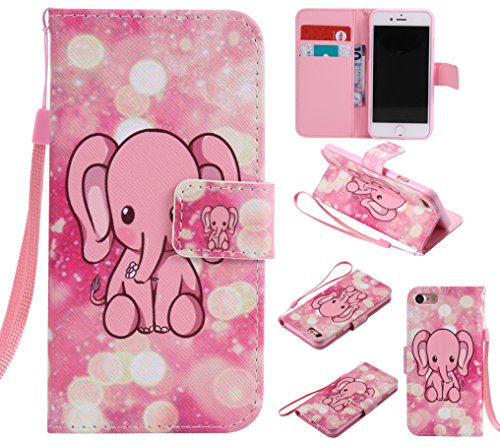 E-Lush Premium PU Leder Laserschneiden Schmetterling Muster Tasche für Apple iPhone 7 7S(4,7 zoll) Einfach Einfarbig Muster Klapphülle 360 Full Body Protection Flip Case Wallet Cover Weiche Flexible T Elefant Rosa