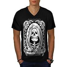 unheilig Rose Tod Schädel Herren S-2XL V-Ausschnitt T-shirt | Wellcoda