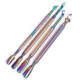FULLONG 4 Teile/satz Doppelenden Edelstahl Nagelhautentferner für Gel Nagellackentferner, maniküre & Pediküre Werkzeug (bunte)
