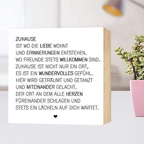 DEIN individueller Spruch - Holzbild - individualisierbar personalisierbar persönlich - eigener Text Name Gedicht 15x15x2cm Fotodruck auf Holz - schwarz-weißes Wand-Bild Aufsteller