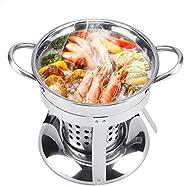 Stainless Steel Fondue, Non-magnetic Alcohol Stove Spirit Burner Shabu Hot Pot Utensils with Advanced High The
