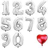 Folien-Ballon Luft-Ballon ZIFFER ZAHL 2 SILBER 60CM XL Aufpusten Geburtstag Hochzeit Party Feier