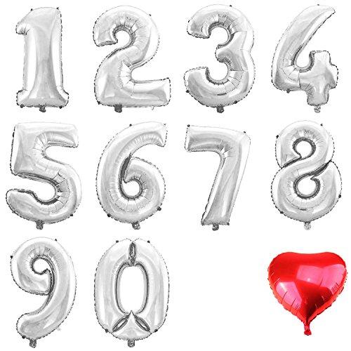 allon ZIFFER ZAHL 3 SILBER 60CM XL Aufpusten Geburtstag Hochzeit Party Feier (3 Ballon)