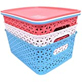 Oheligo Virgin Storage Boxes Premium Quality Plastic Set Of 3 With Lid-Flexible 3 Assorted Colors Organizing Storage Baskets{19X25X10Cm}