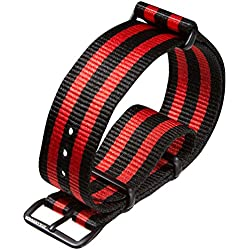NATO G10 Nylon Military Watch Strap by ZULUDIVER® PVD Black, Black and Red, 22mm
