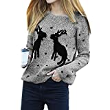 Frauen-Sweatshirt, Hansee-Damen-Mode-beiläufige warme gestrickte gedruckte lange Hülsen-Strickjacke-Spitzen-Bluse (Grau)