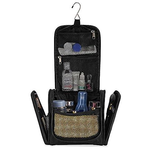 Petite trousse de toilette premium, ultra spacieuse | Kit de voyage compact avec crochet, pour hommes/femmes | Sac de toilette résistant à l'eau (noir)