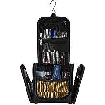 Piccola borsa da toilette di qualità con un sacco di spazio | Kit da viaggio compatto con gancio per uomo e donna | Borsa da bagno resistente all'acqua | Pratica borsa per cosmetici con tracolla