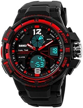 Skye Reker Digital Uhren Herren Outdoor Sport Militär Uhren Dual Display Armbanduhren Wasserdicht PU Strap zum...