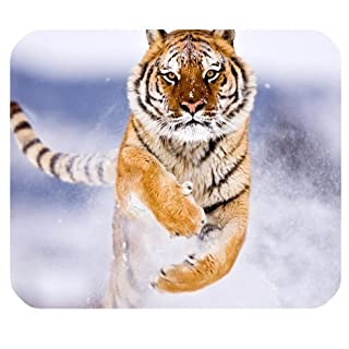 Amur Tiger In Snow Mousepad Personalized Custom Mouse Pad Oblong Shaped In 9.84