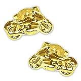 CLEVER SCHMUCK Goldene Ohrstecker als Paar Motorrad 9 x 5 glänzend 333 GOLD 8 KARAT im Etui