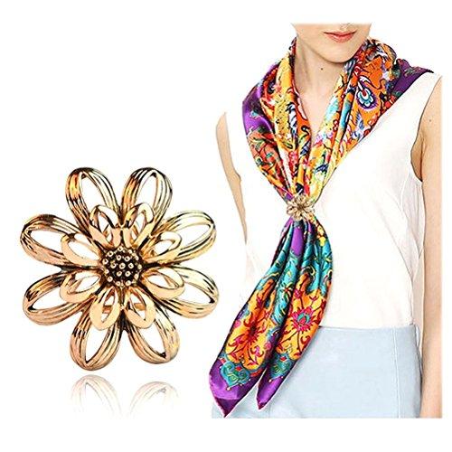 LEORX Schals Clip Schal Ring Schals Ring Schnalle mit Blume-Schichten für Frauen