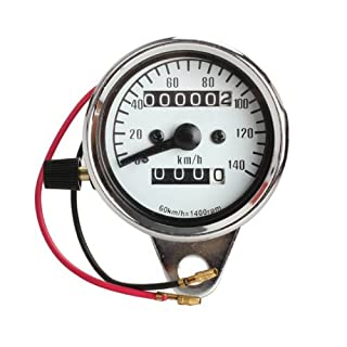 Awakingdemi Universal Fit All Motorcycle Dual Speedometer Odometer Gauge Meter with Night Light for Motorcycles ATV Scooter