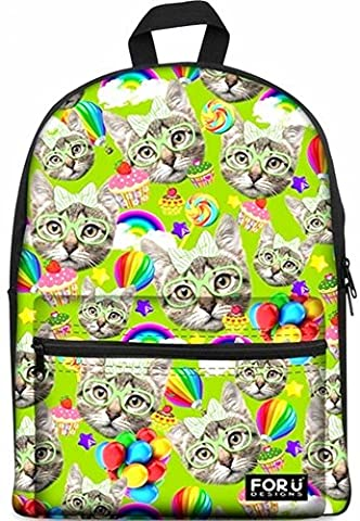 FOR U DESIGNS Cat Kitty Pattern Casual School Travel Laptop Backpack Rucksack Daypack Bags 15.6