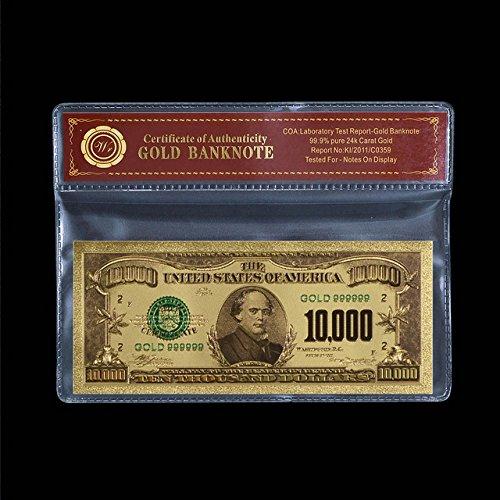 Generic NEU von Importiert WR Gold Dekorationen American Gold Banknote Qualität 1899Jahr One Dollar bunt Fake Gold Folie Bill Note Fashion Metall Crafts