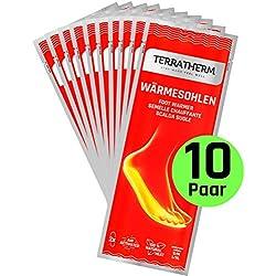 TerraTherm Semelles chauffantes - 10 Paires XL, chaufferettes pour Tout Type de Chaussure, Chauffe Pieds, Chaleur 100% Naturelle, Semelles chauffantes pour Chaussures, Chaleur jusqu'à 8 Heures