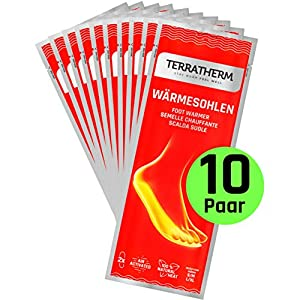 TerraTherm Sohlenwärmer- 10 Paar, Wärmesohlen für Schuhe Aller Art, Schuhwärmer Einlagen, 100% natürliche Wärme, Wärmeeinlagen für Schuhe, Fußwärmer Sohlen für 8h warme Füße