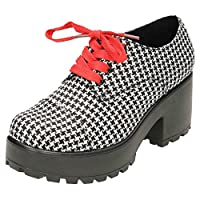 Koi Womens Chunky Heel Platform Lace Up Shoes Black Houndstooth 4 UK