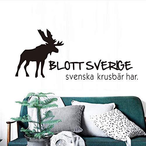 Kunst Wandaufkleber Rentier Wandtattoos Nur Schweden Hat Schwedische Stachelbeere Wandaufkleber Vinyl Abnehmbare Aufkleber Wohnzimmer Dekoration 73X43 Cm