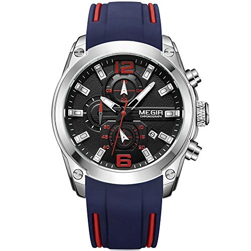 Montre à quartz chronographe pour homme, bracelet en élastomère bleu, analogue, affichage lumineux