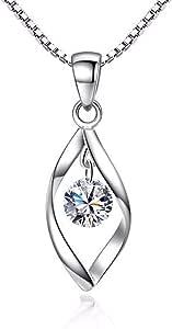 Zolkamery - Set di gioielli da donna, in argento Sterling 925, con ciondolo a forma di goccia e orecchini a gancio, con zirconia cubica AAAAAAA, anallergici, regalo per festa della mamma