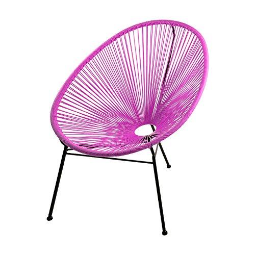 SKASON PULKKO - Outdoorstuhl, Gartensessel, Loungesessel, pink mit schwarzem Rahmen