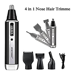 Nose Hair Trimmer,Richoose 4 in 1 Waterproof Stainless Steel Nose and Hair Trimmer Kit with Changeable Head for Beard and EyeBrow Grooming Set-360 degree