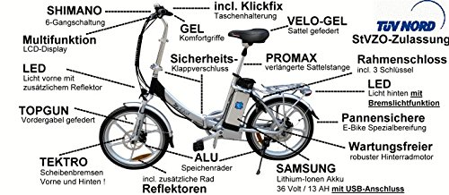Hochwertiges RSM Elektro Klappfahrrad Mobilist 20' E- Bike Pedelec Farbe silber