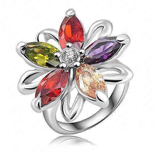 AnaZoz Joyería de Moda 18K Chapado en Oro Chapado en Platino Cristal Austria SWA Elements Anillo de Flores Para Mujer 20*25mm Tamaño 20