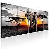 decomonkey | Bilder Afrika Tiere Elefant 200x80 cm 5 Teilig Leinwandbilder XXL Bild auf Leinwand Vlies Wandbild Kunstdruck Wanddeko Wand Wohnzimmer Wanddekoration Deko Landschaft Baum grau orange