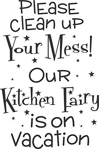 Apollo 's Produkte Bitte reinigen in Ihr Chaos. Unsere Küche Fairy ist auf Urlaub-Küche Wand Vinyl Aufkleber Schild (größere Größe)-35,6x 53,3cm
