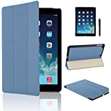 MOFRED Light Blue Ultra Slim New Apple iPad Air (2013-2014 Version) Leather Case Cover, Full Protection Smart Cover for iPad Air iPad 5 5th With Magnetic Auto Wake & Sleep Function + Screen Protector + Stylus Pen