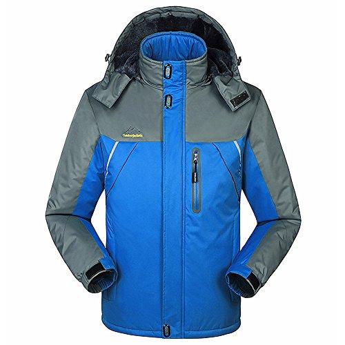 Fochu Men's Waterproof Windproof Fleece Ski Jacket (Blau, M)