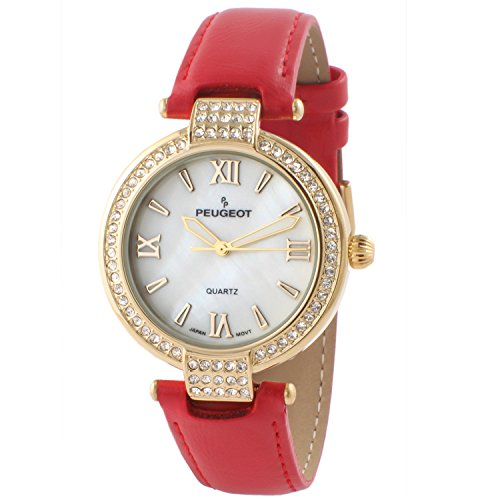 Peugeot Women's Dress Watch, 14K Plated with Crystal Bezel and Leather Strap