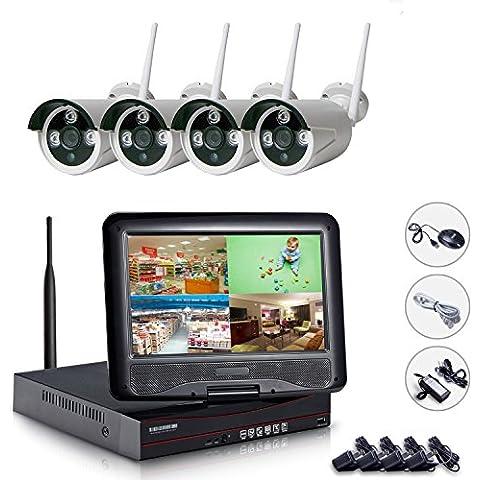 EDSSZ IP Network Camera Wireless 4CH 720P Sistema 10.1 pollici NVR WIFI schermo LCD con 4 dei dell'interno esterna impermeabile di IR Night Vision Camera Facile accesso remoto EDS-WIFIKITLCD04-720P