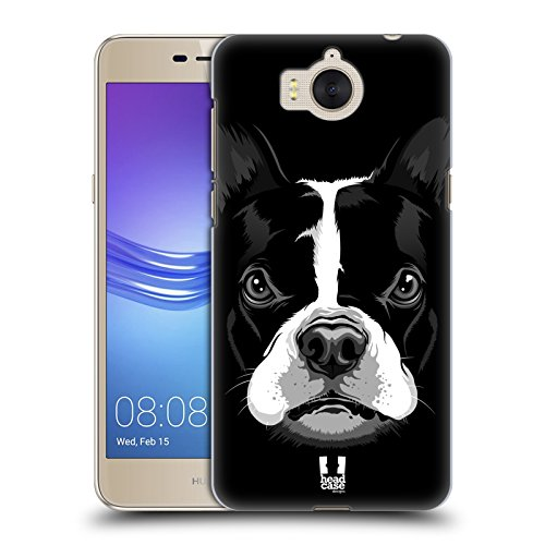 Head Case Designs Boston Terrier Grosses Illustrierte Gesicht 2 Ruckseite Hülle für Huawei Y6 (2017) / Nova Young (Bull Terrier Phone Case)