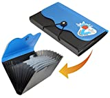 #5: SHIVIRA Expanding Cheque Book Holder Travelling Document Bag- 12 Section - Black & Blue