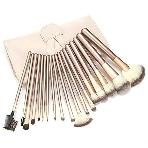 Anne 18pcs Make-up Pinsel Set Profi Holz Griff Premium Synthetic Kabuki Foundation Blending Blush Concealer (2 White Piatto Mat)