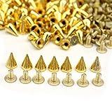 100pcs 10mm Pyramiden Nieten Kegel Schraube Metall-Ziernieten Spikes Spitz Gothic (Golden)