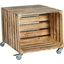 "2er Mesa cajón de fruta ""Johanna"" con Dimensiones Del Rodillo 62 x 50 x 48cm Mesita baja Tabla Sofá mesa Caja de vino Caja de madera Estantería Caja de fruta Altisch de lluvia Mesa de salón - Flameado"