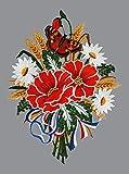 Fensterbild Mohnblumenstrauß Plauener Spitze Fensterdeko Spitzenbild Fensterschmuck
