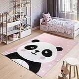 Tapiso Pinky Tapis de Chambre Enfant Bébé Ado Design Moderne Rose Blanc Noir Panda Jeu Fin Résistant 80 x 150 cm