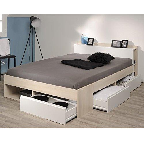 Funktionsbett 160 * 200 cm Akazie Grau/Weiß inkl 3 Roll-Bettkästen Jugendzimmer Kinderzimmer Schlafzimmer Kinderbett Jugendbett Jugendliege