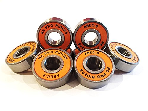8 x Orange Abec 9 608 (8 x 22 x 7 mm) RS PRO Riders Skate Kugellager Skateboard Roller -