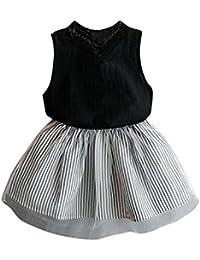 fad21794e563 ❥Elecenty Bekleidungssets Prinzessin Baby Kleid,Mädchen Kleider festlich  Kinderkleid Ärmellos Hemd Tops+ Tutu Streifen