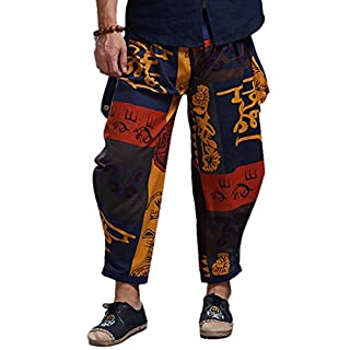 Ai.Moichien Fashion Geometry Print Loose fit Harem Trouser,Great Comfort Plus Size Yoga Pants,Hippy Boho Trousers Loose Linen Jogging Sweatpants