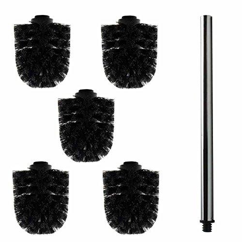 Preisvergleich Produktbild 5x Ersatz Bürstenkopf schwarz + Griff 40 cm / Austausch Toilettenbürste / Klobürste