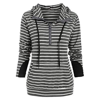 Yvelands Damen Langarm T-Shirt gestreiftes Navy Kragen Kapuzenpullover Reißverschluss Manschette Spleißen Bluse Tops